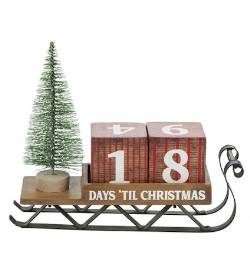 Wooden sleigh with Christmas Countdown Blocks THUMBNAIL