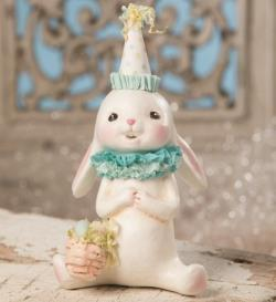 Bunny Figure with blue collar and paper hat holding an Easter Basket THUMBNAIL