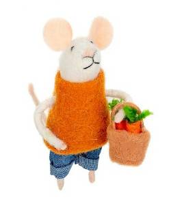 Mouse Figure with Shopping Basket