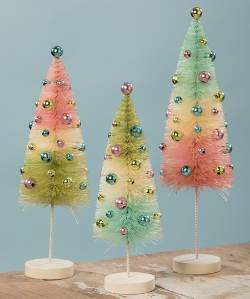 Pastel Confetti Bottle Brush Tree Set