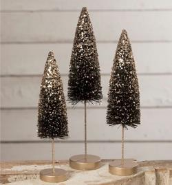 Black Bottle Brush Trees with Gold Glitter THUMBNAIL