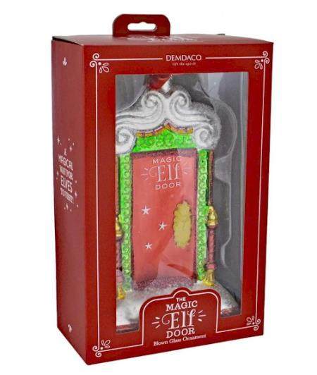 North Pole Elf Door Glass Ornament LARGE