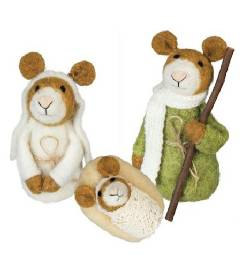 Wool Mice Holy Family Nativity THUMBNAIL