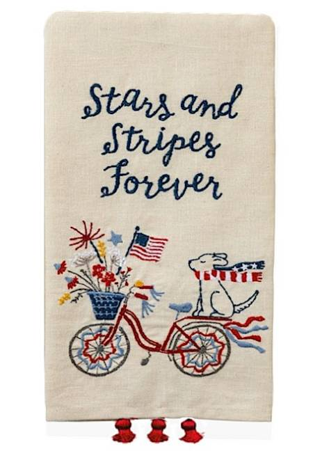 Patriotic Guest Towel with Bicycle and Puppy LARGE