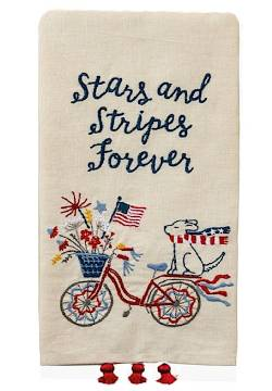 Patriotic Guest Towel with Bicycle and Puppy THUMBNAIL