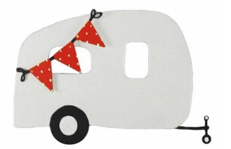 Airstream with Red Flag Banner Magnet LARGE