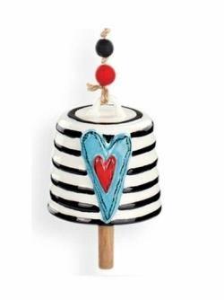 Teal Heart with Stripes Bell