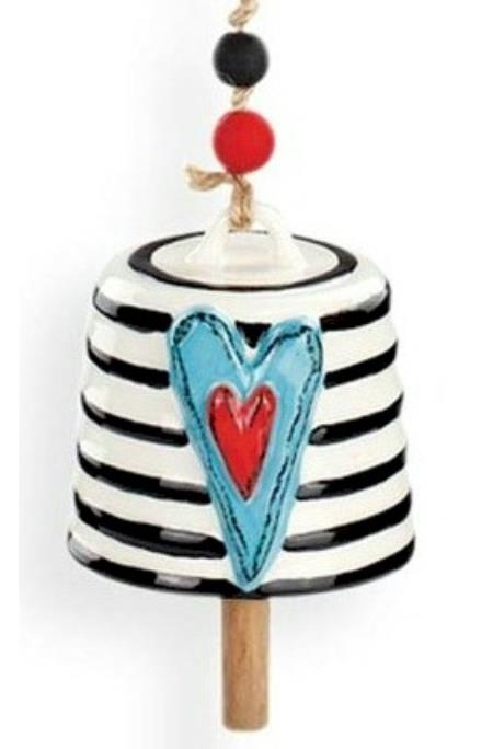 Teal Heart with Stripes Bell MAIN