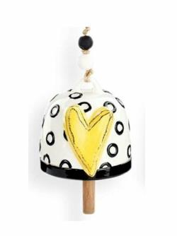 Yellow Heart with Circles Bell