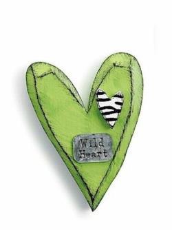 Lime Green Heart with Zebra print Wall Hanger