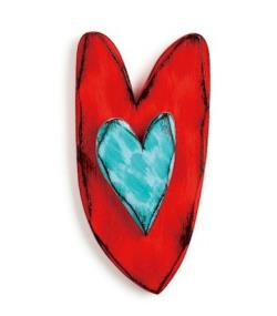 Red and Teal Carved Heart Wall Art