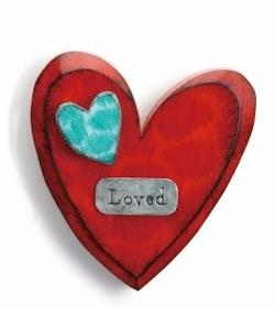 Red Carved Wooden Heart with Loved metal tag