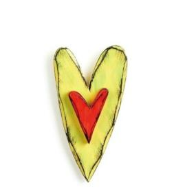 Lime Green and Red Carved Heart Wall Art