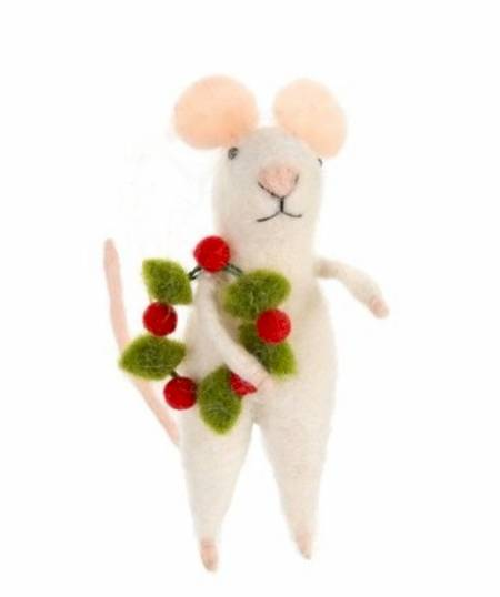 Mouse with Christmas Wreath Figure LARGE