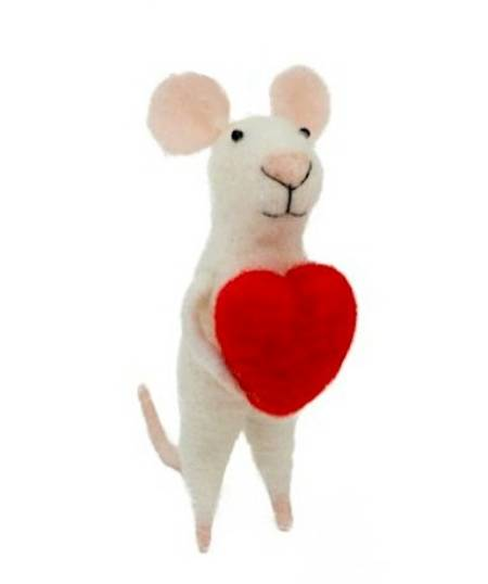 Love Mouse with Heart Ornament LARGE