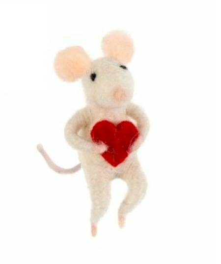 Mouse with Red Heart Figure LARGE