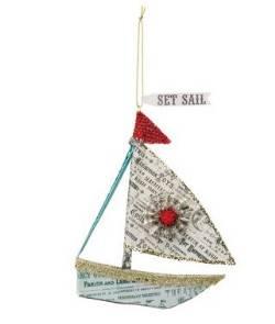 Newsprint Sailboat Ornament