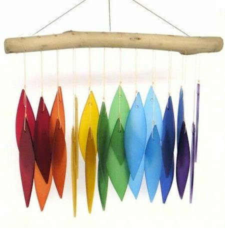 Driftwood and rainbow glass windchime LARGE