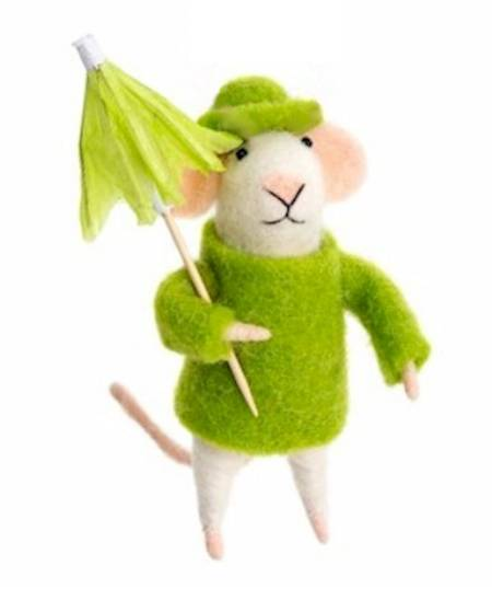 Mouse in Green Raincoat with Umbrella LARGE