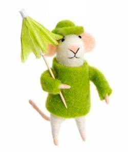 Mouse in Green Raincoat with Umbrella THUMBNAIL
