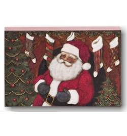 Santa with Fireplace Block Art
