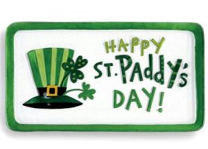 Glass serving platter with festive Irish graphics for St. Patrick's Day THUMBNAIL