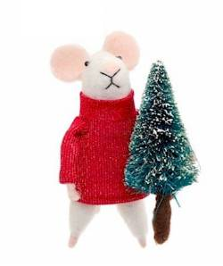 Mouse in Red Sweater with Christmas Tree