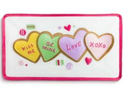 Glass serving platter with colorful heart cookies for Valentine's Day THUMBNAIL