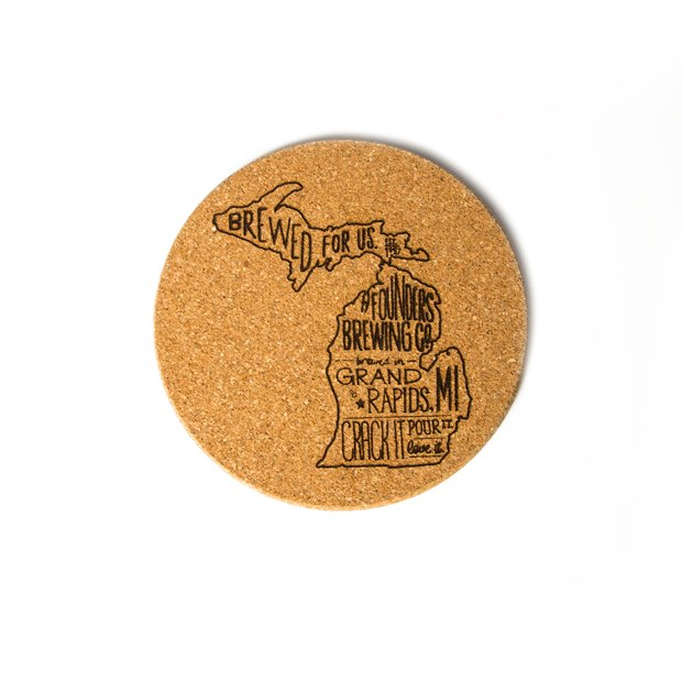 Cork Coaster - Michigan Print THUMBNAIL