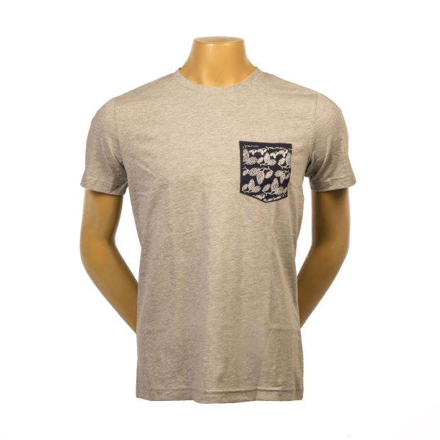Hop Pocket Tee - Grey/Navy LARGE