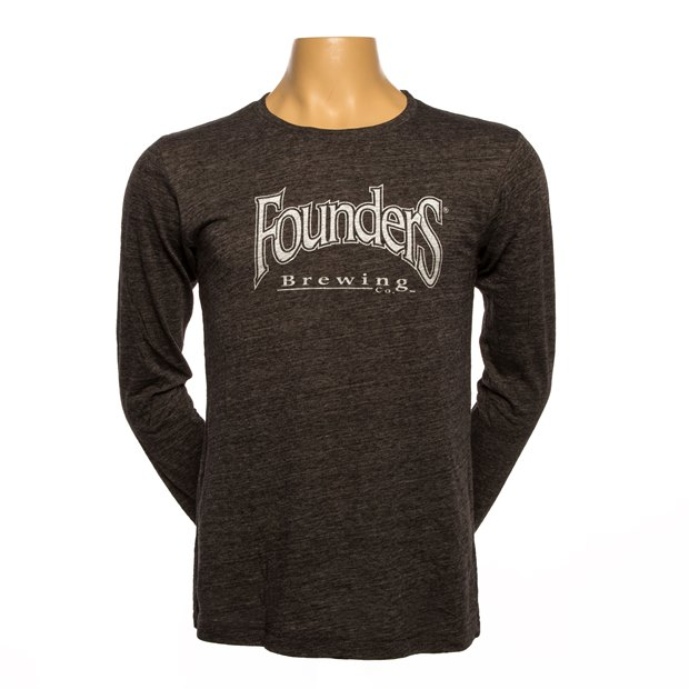 Founders Logo Long-Sleeve Tee - Charcoal Black Slub LARGE
