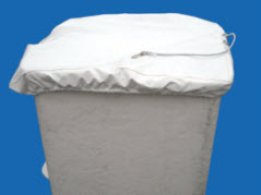 Bucket Cover, White Vinyl, D Shape Buckets