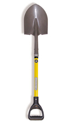 Professional Grade Round Point Shovel with Short Fiberglass Handle