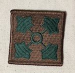 4th Infantry Division Collectibe Shoulder Sleeve Patch 4 Green Ivy leaves on a brown field THUMBNAIL