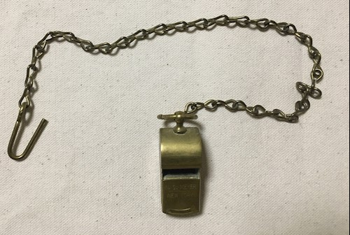 "2"" N.S. Meyer Brass WWII Military Whistle w / Chain LARGE"