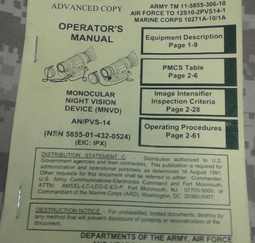 AN/PVS 14 Monocular Night Vision Device (MNVD) Operator Manual