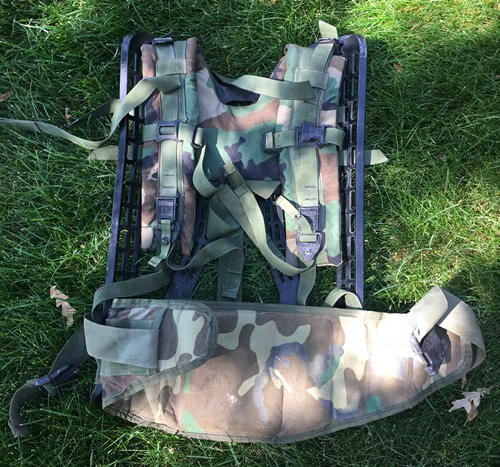 Molle II BDU Woodland Large Ruck Frame, Shoulder Straps & Molded Waist Belt only MAIN