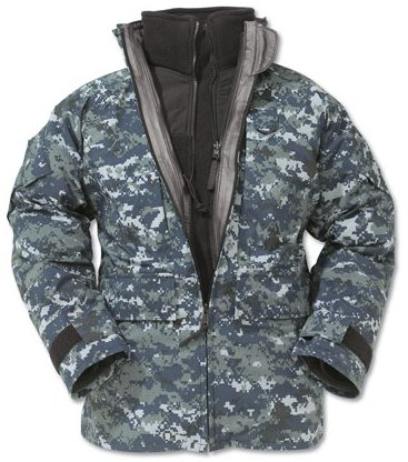 US Navy NWU Blue Digital 'Blueberry' Utility Gore-Tex Parka with liner