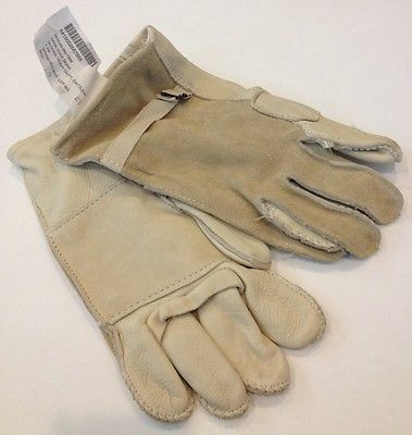 Pre-own Military Grade Heavy Duty Cattlehide Gloves Tan  White 8415-00-268-7872