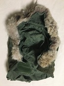 Army Vintage Wolf Fur M1951 OG-107 Extreme Cold Weather Hood Fishtail THUMBNAIL