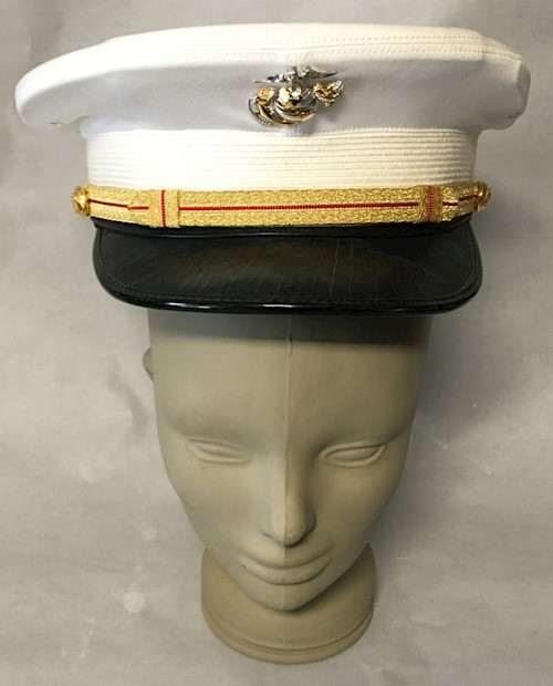 Lancaster Brand Marine Corp USMC Officer Company Grade White Dress Cap SWATCH