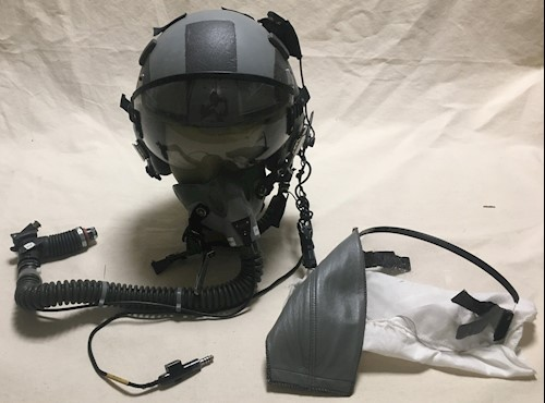 Gentex HGU 55/P HALO Fighter Pilot Helmet w MBU 20 A/P Oxygen Mask & Comms LARGE