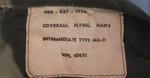 Vietnam Era Coverall Flying Man's Type MA-11 SWATCH