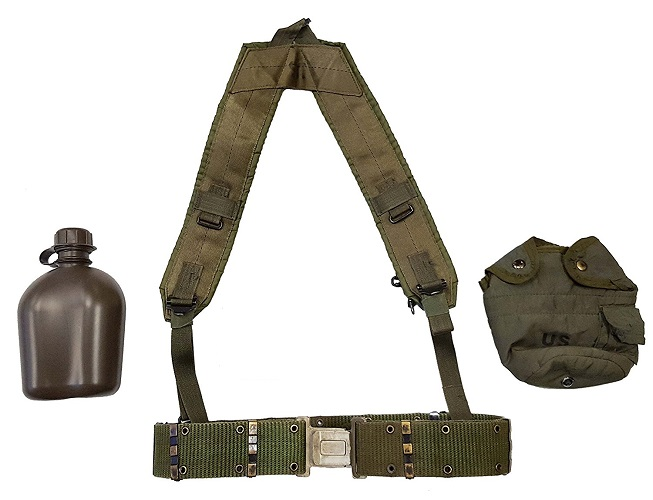 USGI LC2 Nylon Pistol Belt  with Canteen & Cover & LBE Suspenders MAIN