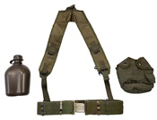 USGI LC2 Nylon Pistol Belt  with Canteen & Cover & LBE Suspenders