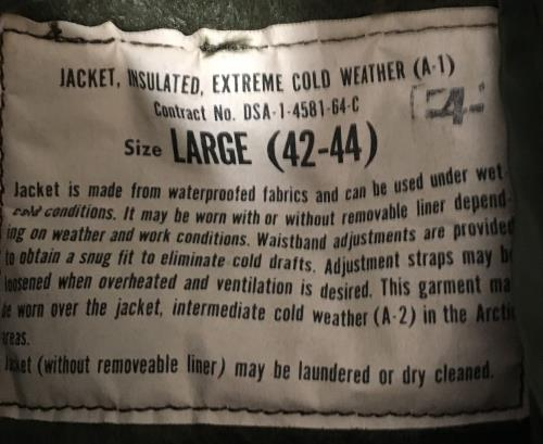 Vietnam Era Mint Condition Navy A-1 Extreme Cold Weather Set SWATCH