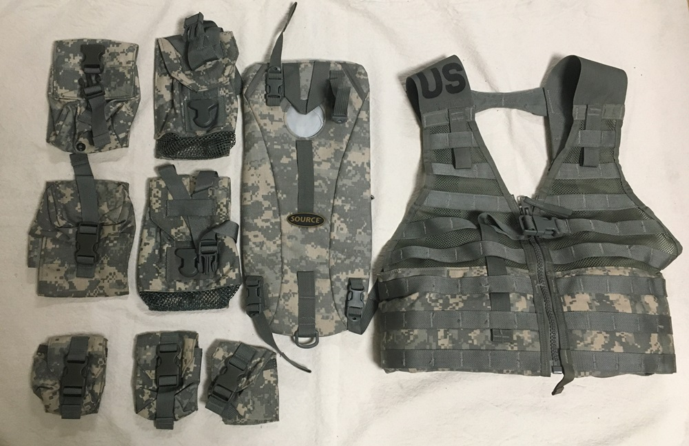 ACU MOLLE USGI Fighting Load Carrier Vest FLC  w Hydraton carrier AND 7 pouches LARGE