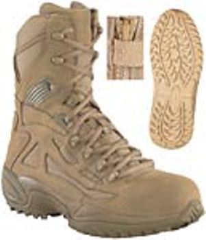 Reebok Coyote Brown Stealth Side Zip SWAT Boot Safety Toe LARGE