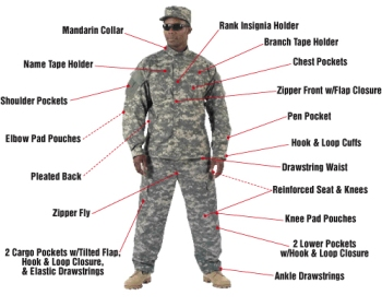 ACU Digital Camo Army Complete Uniform LARGE