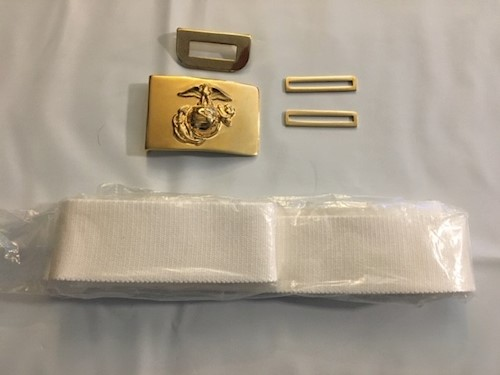 Marine Corp Dress Blue Belt with all Brass LARGE